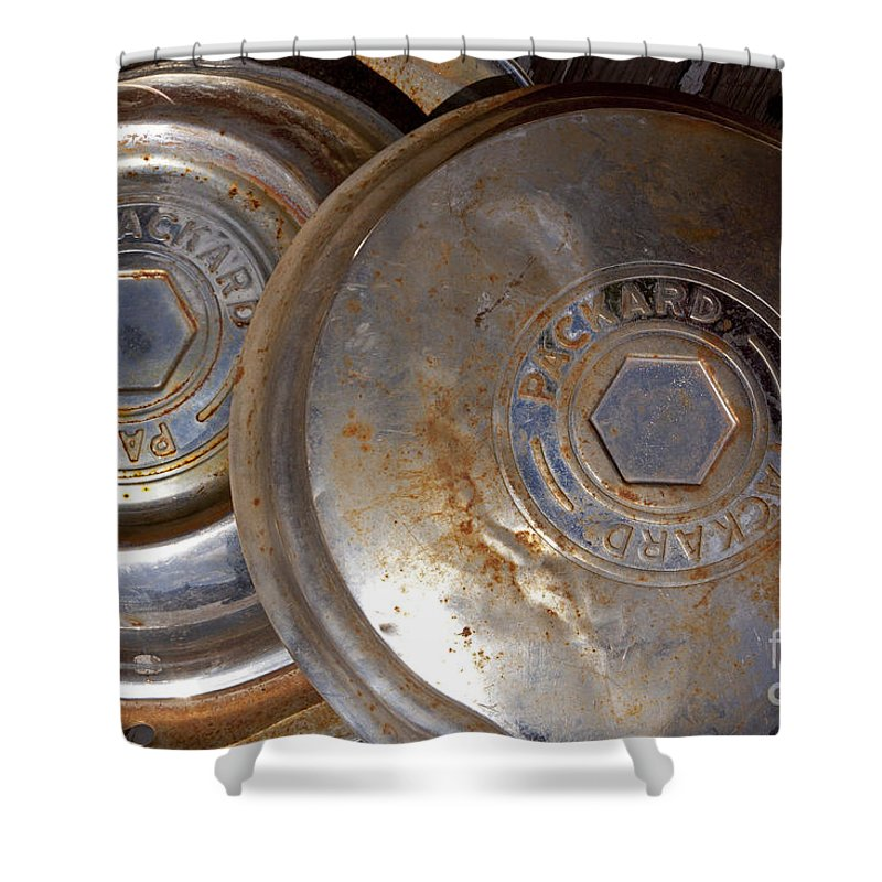 Packhard Hub Caps Shower Curtain featuring the photograph Packhard Hub Caps  #1074 by J L Woody Wooden