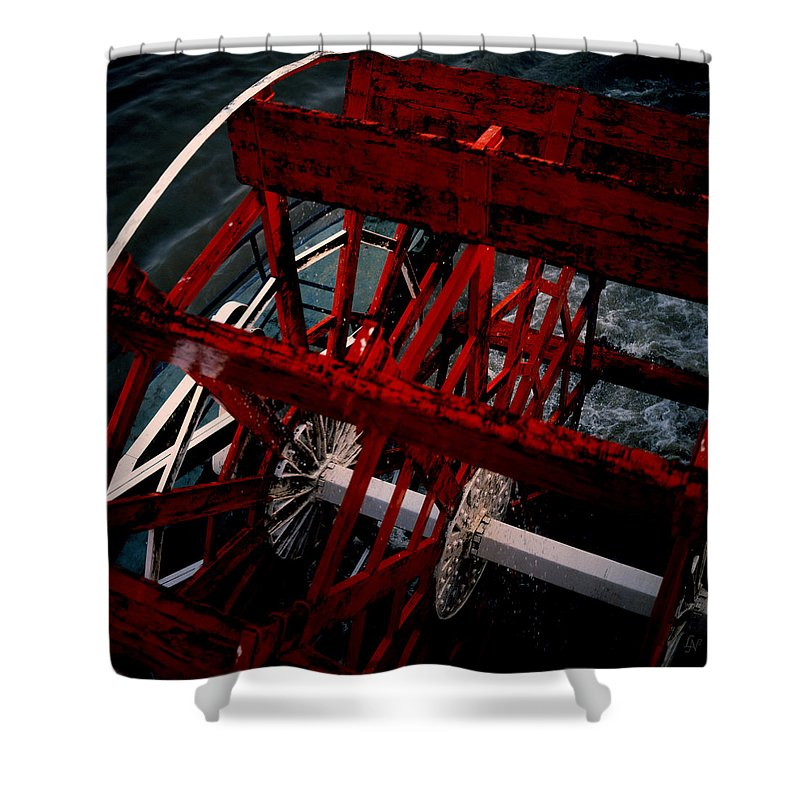 Boat Shower Curtain featuring the photograph Paddlewheel by Lee Newell