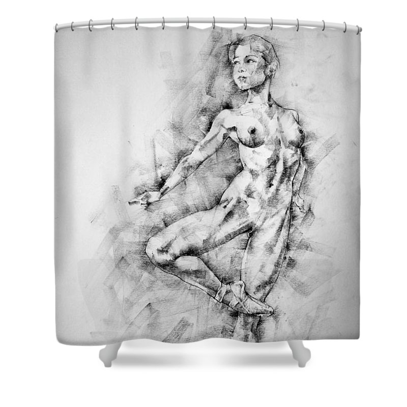 Erotic Shower Curtain featuring the drawing Page 27 by Dimitar Hristov