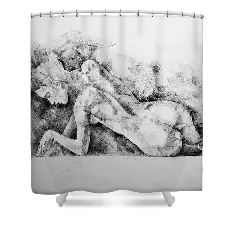Erotic Shower Curtain featuring the drawing Page 7 by Dimitar Hristov