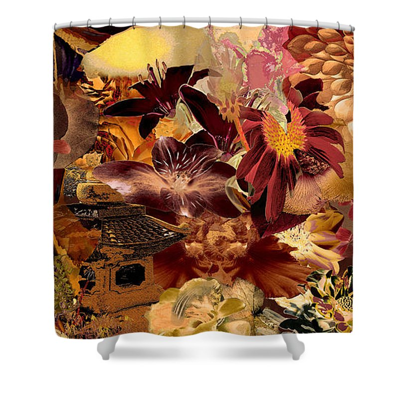 Pagoda Shower Curtain featuring the digital art Pagoda by Paul Gentille