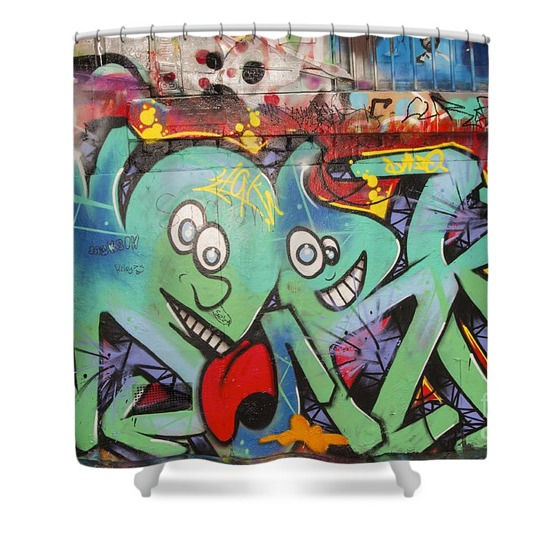Melbourne Australia Street Art Colorful Alley Artwork Painting Streets Alleys Graffiti City Cities Cityscape Cityscapes Shower Curtain featuring the photograph Paint Job by Bob Phillips