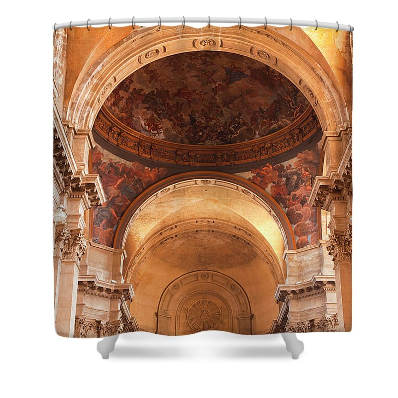 Arch Shower Curtain featuring the photograph Painted Ceiling Inside The Cathedral At by Julian Elliott Photography