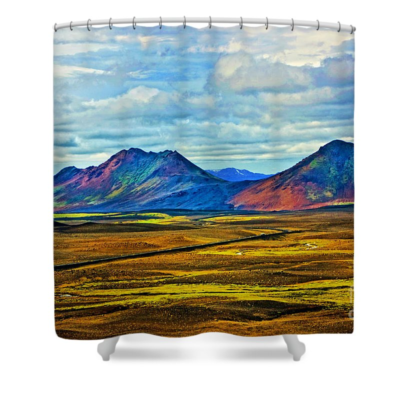 Landscape Shower Curtain featuring the photograph Painted Mountain by Roberta Bragan