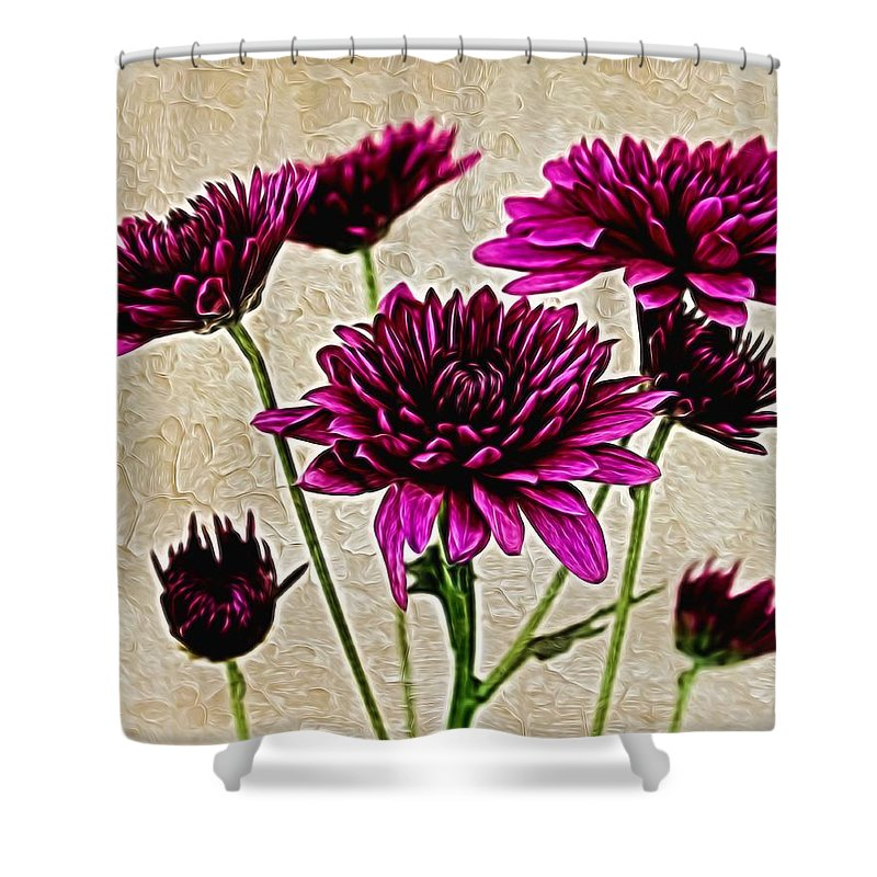 Chrysanthemum Shower Curtain featuring the photograph Painted Pink Bouquet by Judy Vincent