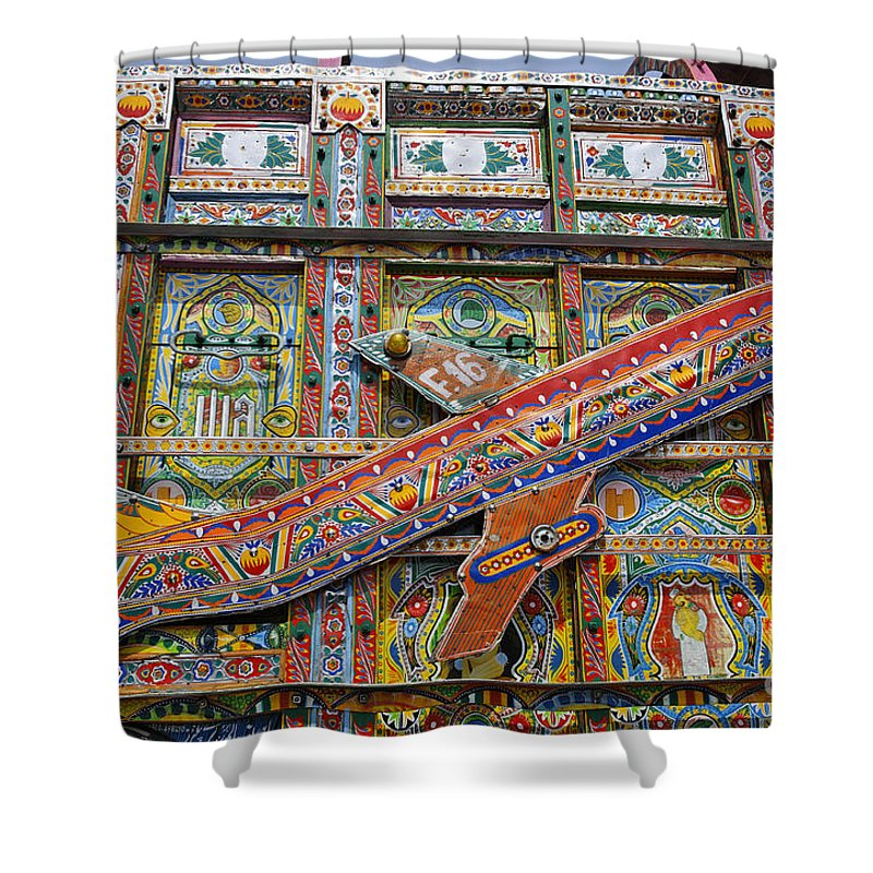 Painted Shower Curtain featuring the photograph Painted Truck In Pakistan by Robert Preston