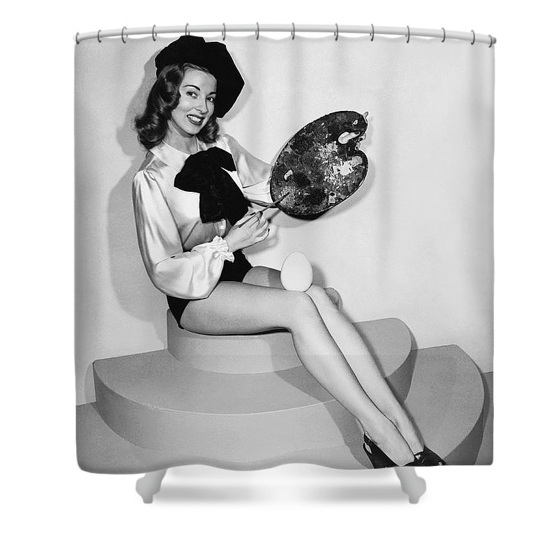 1 Person Shower Curtain featuring the photograph Painting An Easter Egg by Underwood Archives