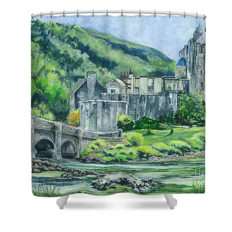 Castle Shower Curtain featuring the painting Eilean Donan Medieval Castle Scotland by Carol Wisniewski