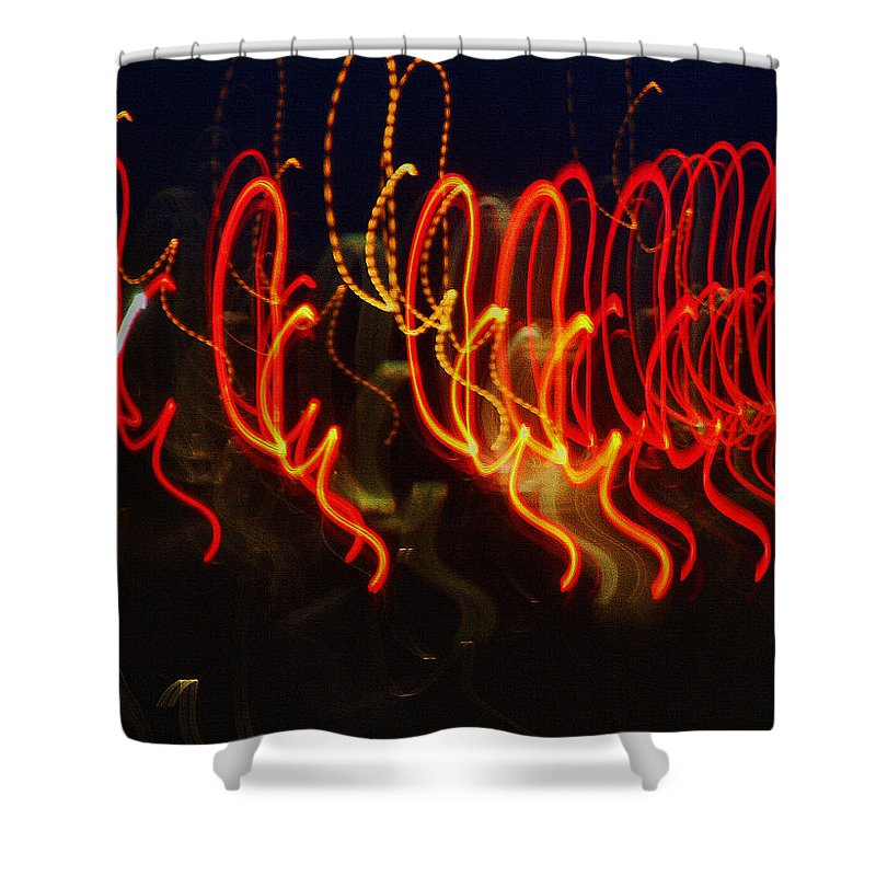 Night Lights Shower Curtain featuring the painting Painting With Light 3 by Jennifer Muller