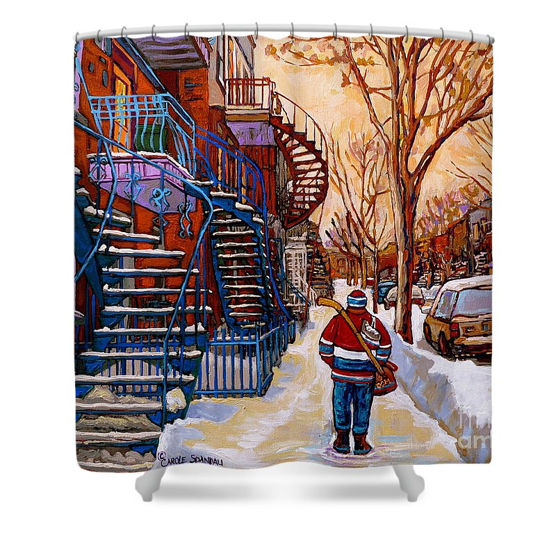 Montreal Shower Curtain featuring the painting Paintings Of Montreal Beautiful Staircases In Winter Walking Home After The Game By Carole Spandau by Carole Spandau