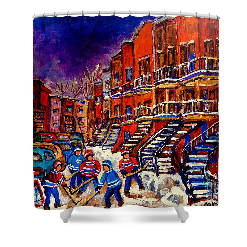 Montreal Shower Curtain featuring the painting Paintings Of Montreal Hockey On Du Bullion Street by Carole Spandau