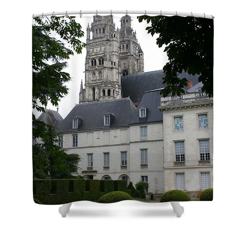 Cathedral Shower Curtain featuring the photograph Palais In Tours With Cathedral Steeple by Christiane Schulze Art And Photography