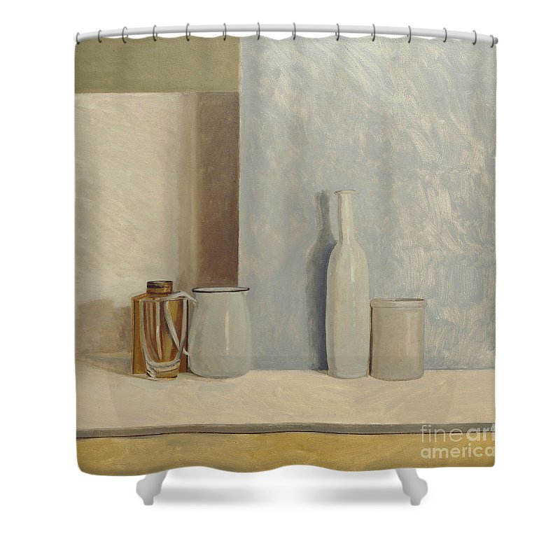 Still Life Shower Curtain featuring the painting Pale Grey And Blue by William Packer