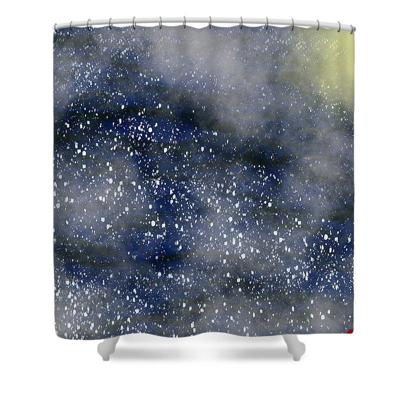 Moon Shower Curtain featuring the painting Pale Moon At Sea by Bill Minkowitz