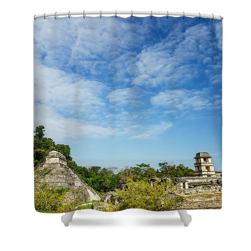 Palenque Shower Curtain featuring the photograph Palenque Temples by Jess Kraft