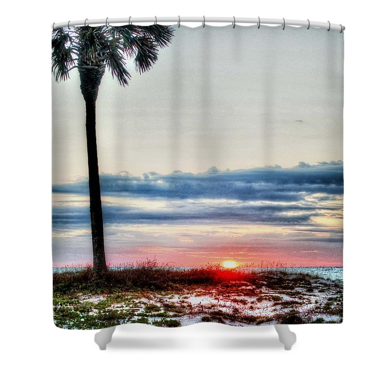 Alabama Shower Curtain featuring the digital art Palm And Sun by Michael Thomas
