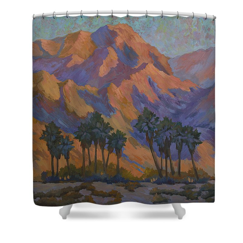 Palm Oasis At La Quinta Cove Shower Curtain featuring the painting Palm Oasis At La Quinta Cove by Diane McClary