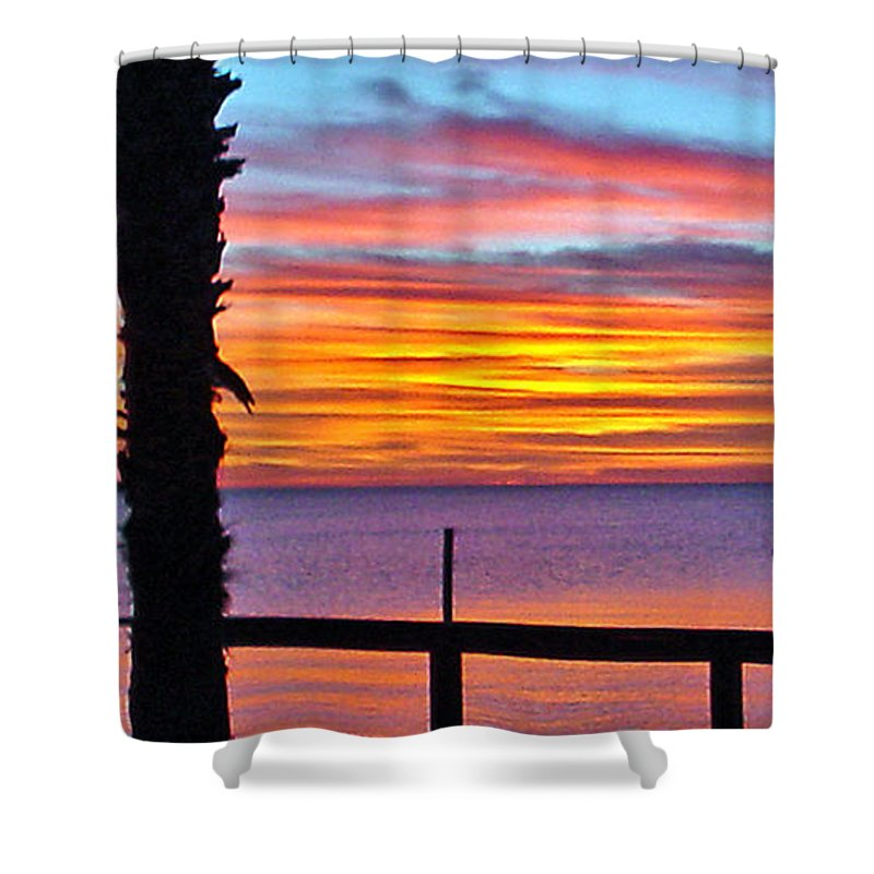 Sunset Shower Curtain featuring the photograph Palm Sunset by Norman Johnson