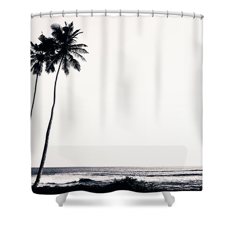 Empty Shower Curtain featuring the photograph Palm Trees And Beach Silhouette by Chrispecoraro