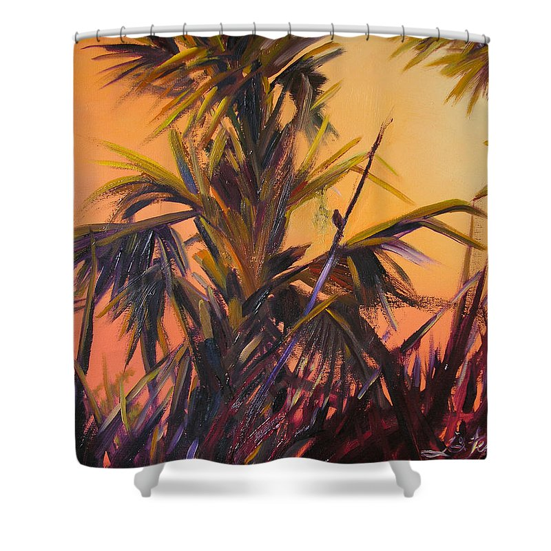Impressionism Shower Curtain featuring the painting Palmettos At Dusk by Julianne Felton