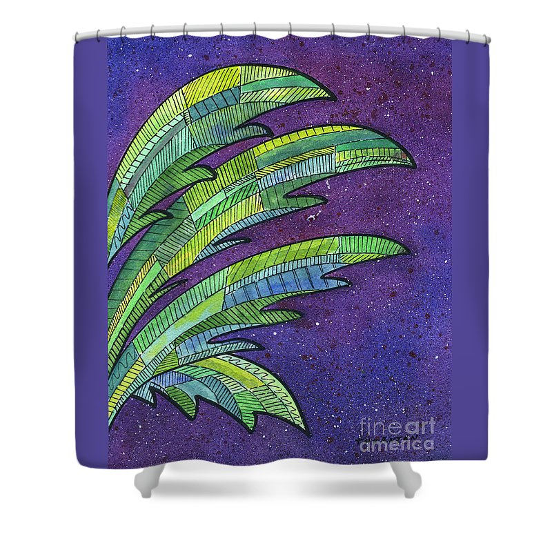 Palm Shower Curtain featuring the painting Palms Against The Night Sky by Diane Thornton