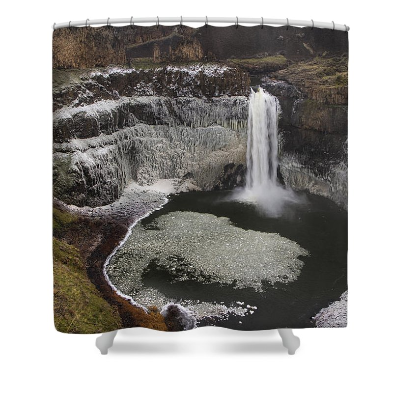 Winter Shower Curtain featuring the photograph Palouse Falls In Winter by Mark Kiver