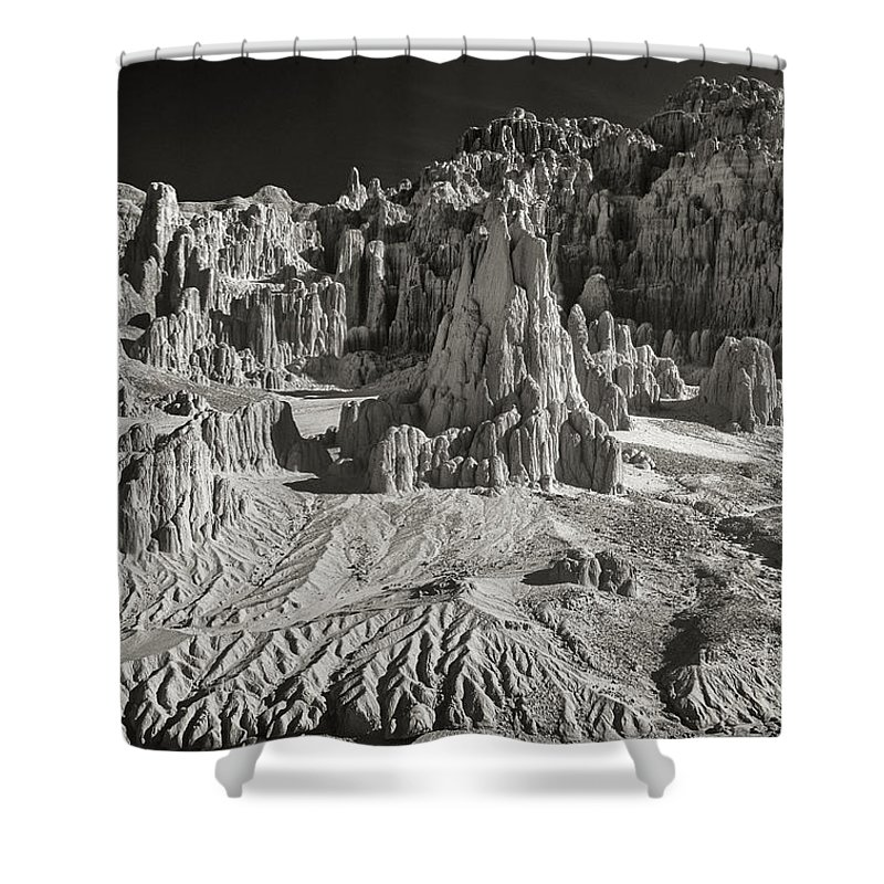 North America Shower Curtain featuring the photograph Panaca Sandstone Formations In Black And White Nevada Landscape by Dave Welling
