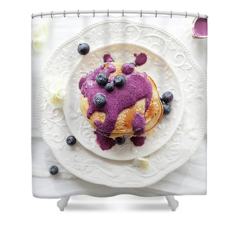Temptation Shower Curtain featuring the photograph Pancakes With Blueberry Sauce by Ingwervanille