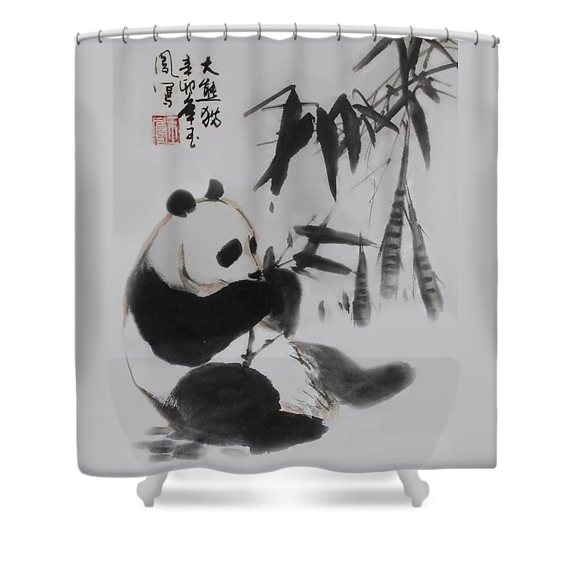 Panda Shower Curtain Featuring The Photograph And Bamboo By Yufeng Wang