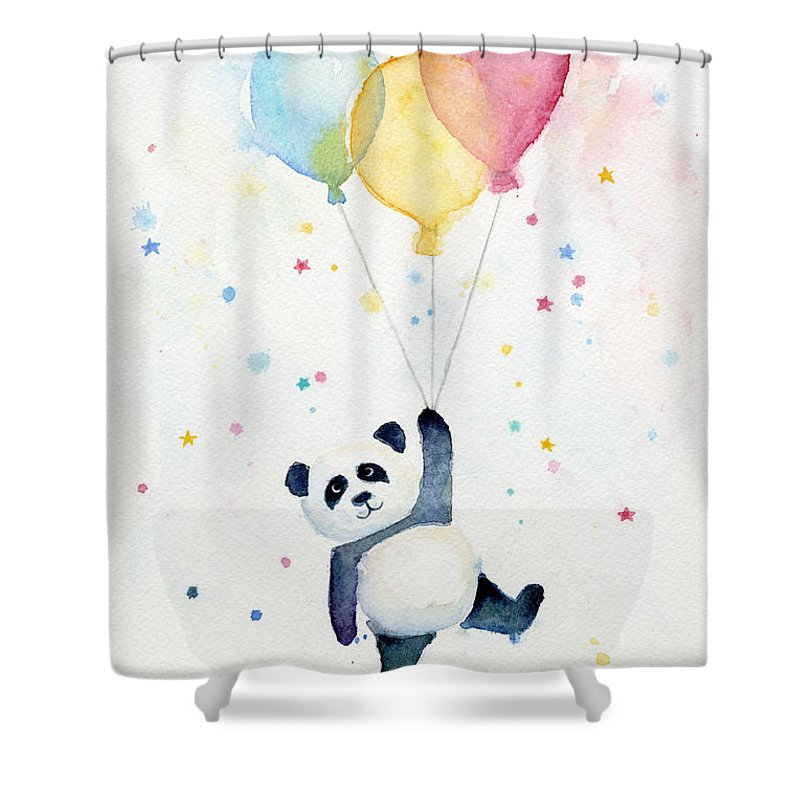 Panda Floating With Balloons Shower Curtain For Sale By Olga Shvartsur