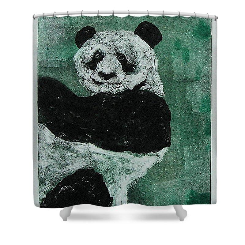 Panda Shower Curtain featuring the mixed media Panda - Monium by Cori Solomon