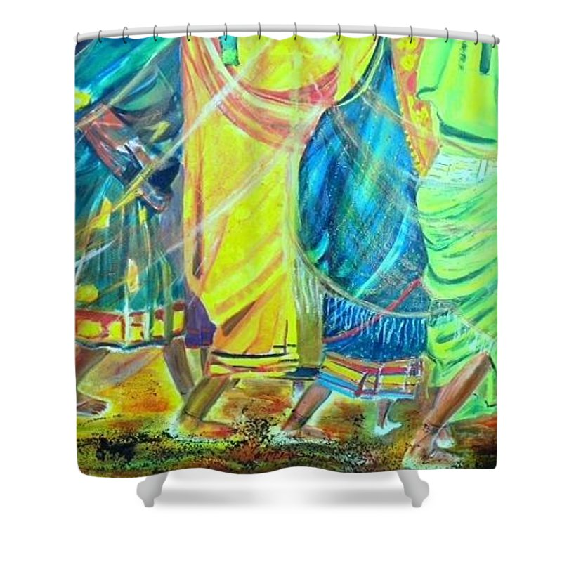 Women Walking Shower Curtain featuring the painting Panjim by Peggy Blood