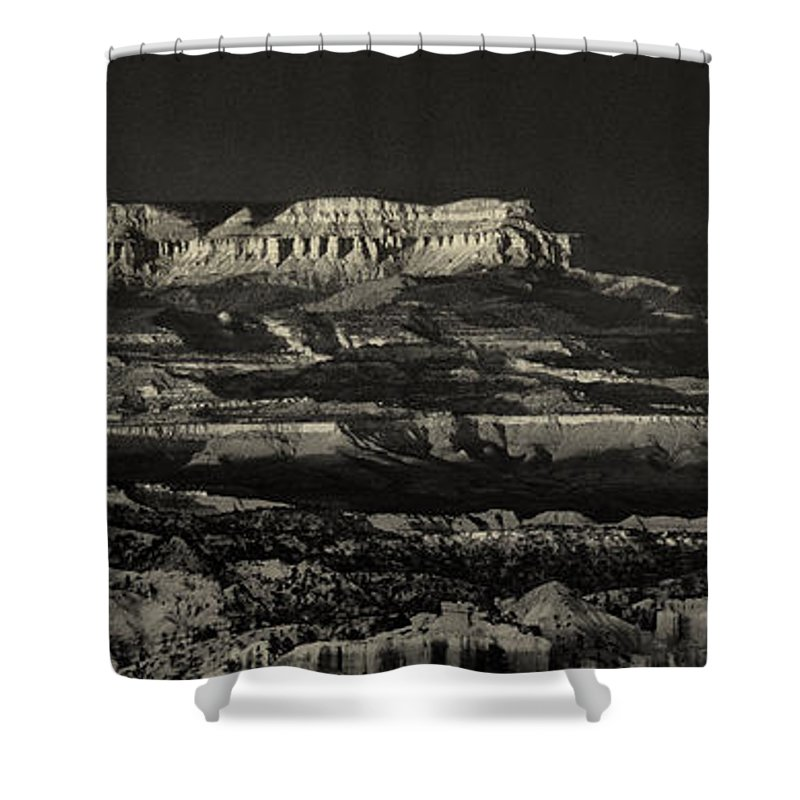 North America Shower Curtain featuring the photograph Panorama Bryce Canyon Storm In Black And White by Dave Welling