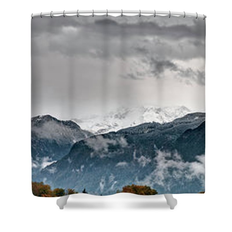 Extreme Terrain Shower Curtain featuring the photograph Panorama Of The Berchtesgaden Alps by Delectus
