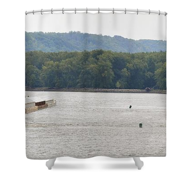 Barge Shower Curtain featuring the photograph Panoramic Barge by Bonfire Photography