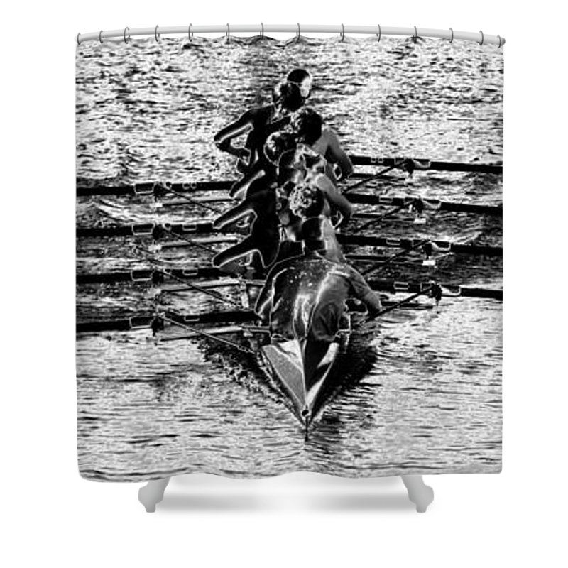 Panoramic Photography Shower Curtain featuring the photograph Panoramic Rowing by David Lee Thompson