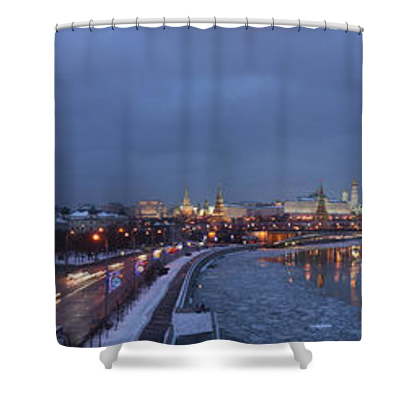 Featured Shower Curtain featuring the photograph Panoramic View Of Moscow River And Kremlin - Featured 2 by Alexander Senin