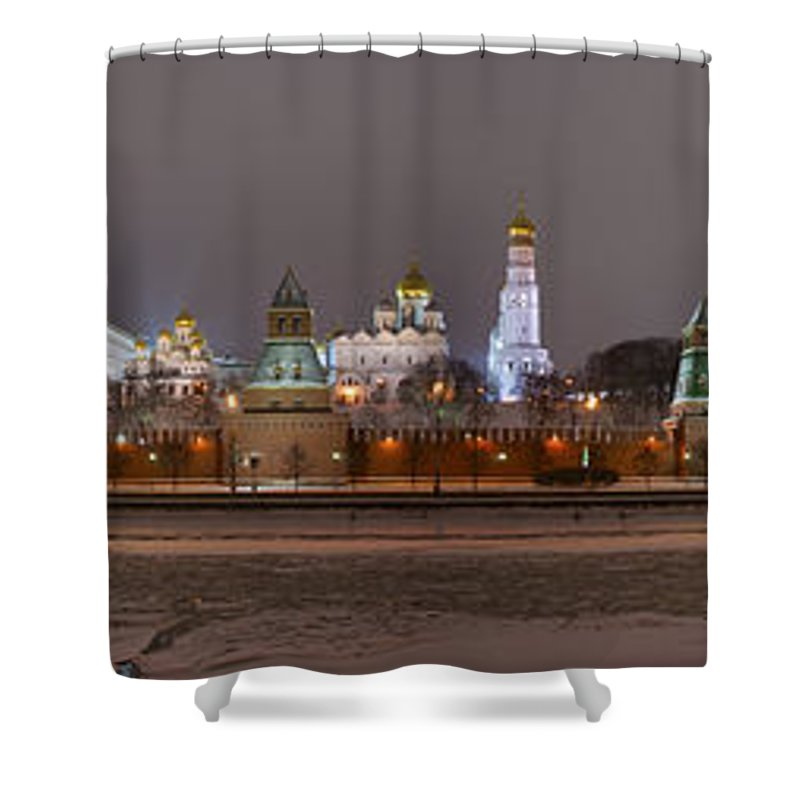 Featured Shower Curtain featuring the photograph Panoramic View Of Moscow River And Moscow Kremlin In Wintertime by Alexander Senin