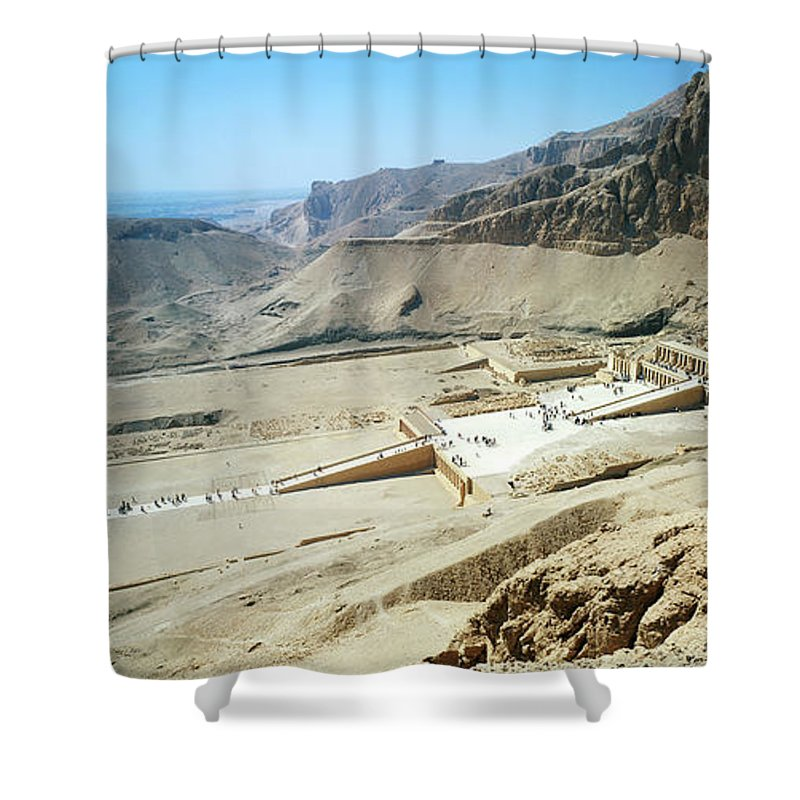Africa Shower Curtain featuring the photograph Panoramic View Over Hatschepsut Temple by Jakub Sliwa