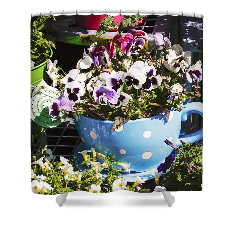 Cup Of Pansies Shower Curtain featuring the photograph Cup Of Pansies by Cynthia Woods