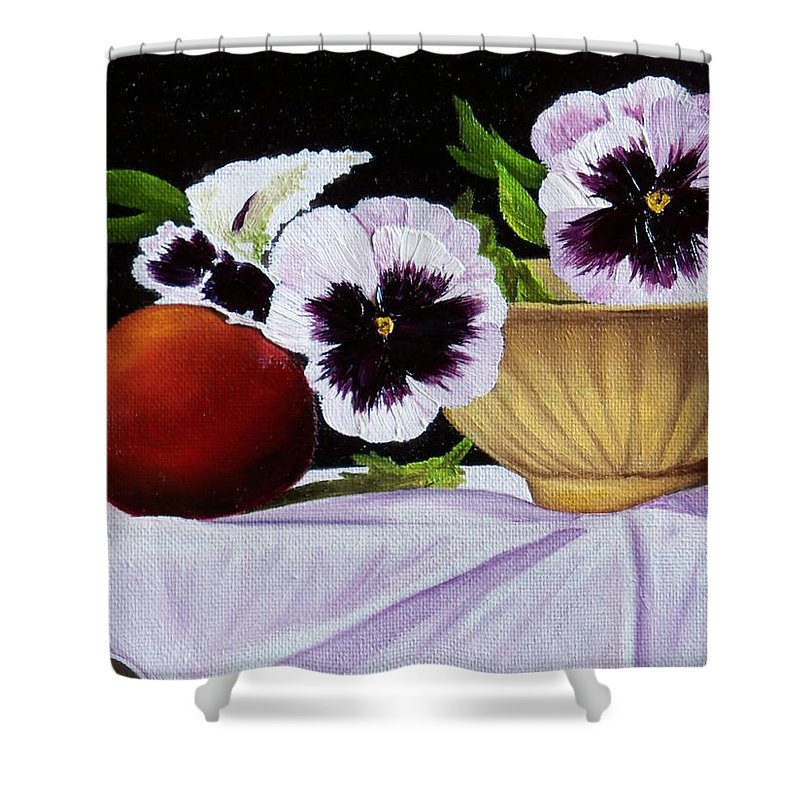 Pansies Shower Curtain featuring the painting Pansies In Bowl by Paul Tremlin