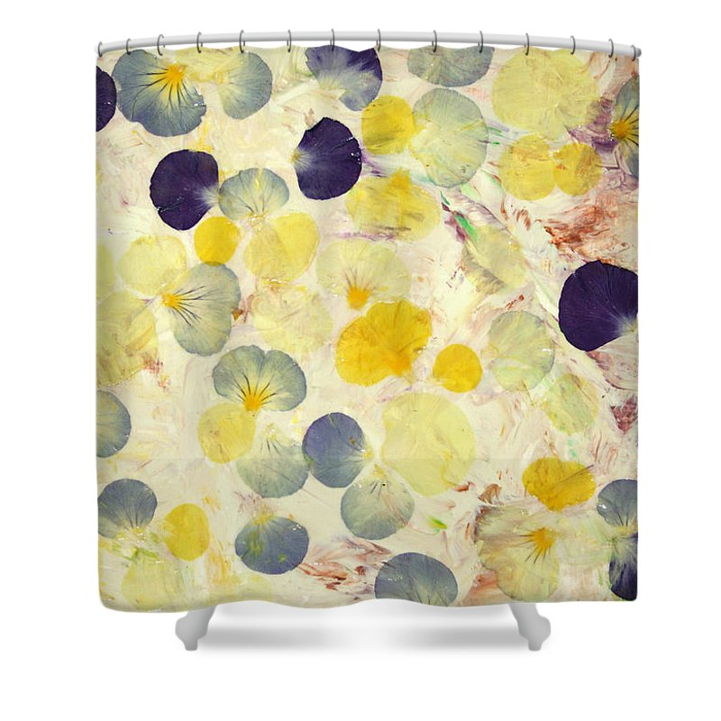 Pansies Shower Curtain Featuring The Painting Pansy Petals By James W Johnson