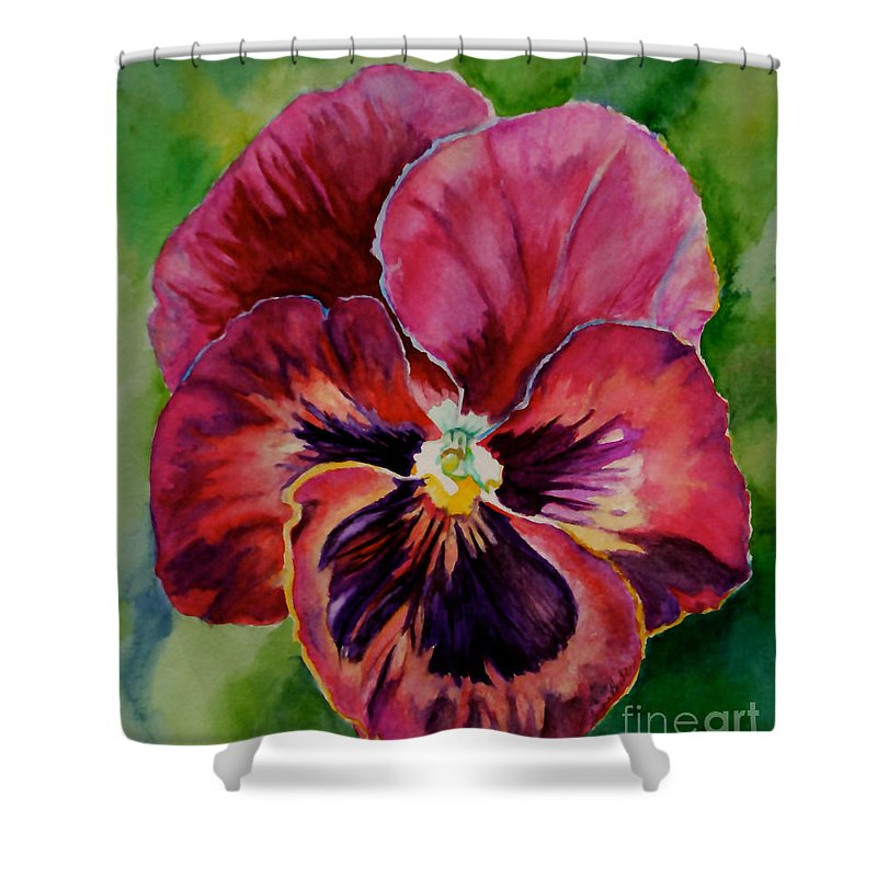 Outdoors Shower Curtain featuring the painting Pansy Play by Susan Herber