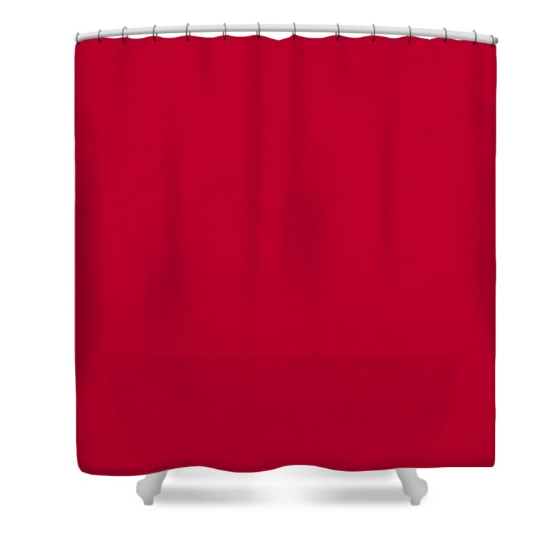 Pantone Shower Curtain Featuring The Mixed Media Pantone 186 Fire Engine  Red Color On Worn Canvas