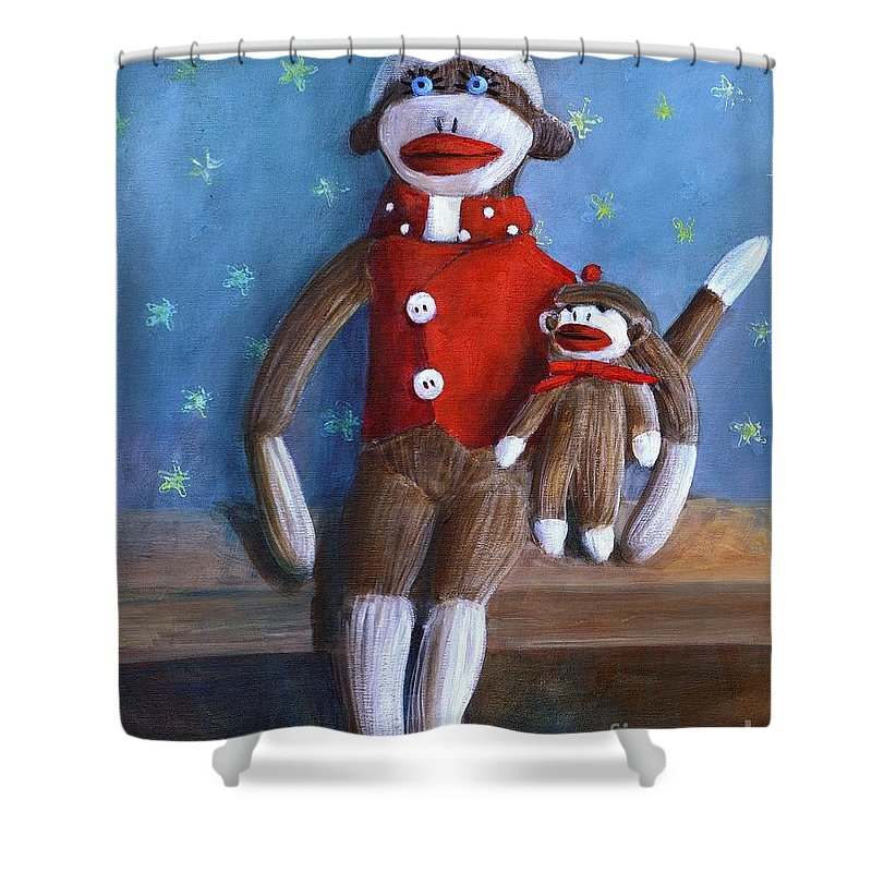 Sock Monkey Papa With Child Shower Curtain featuring the painting Papa And Paco by Randy Burns