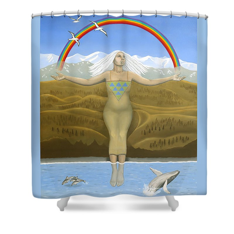 Capricorn Shower Curtain featuring the painting Papatuanuku / Capricorn by Karen MacKenzie