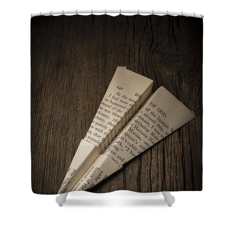 Paper Airplane From Old Book Page Shower Curtain For Sale