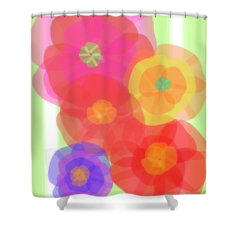 Abstract Shower Curtain featuring the digital art Paper Flowers by Christine Fournier