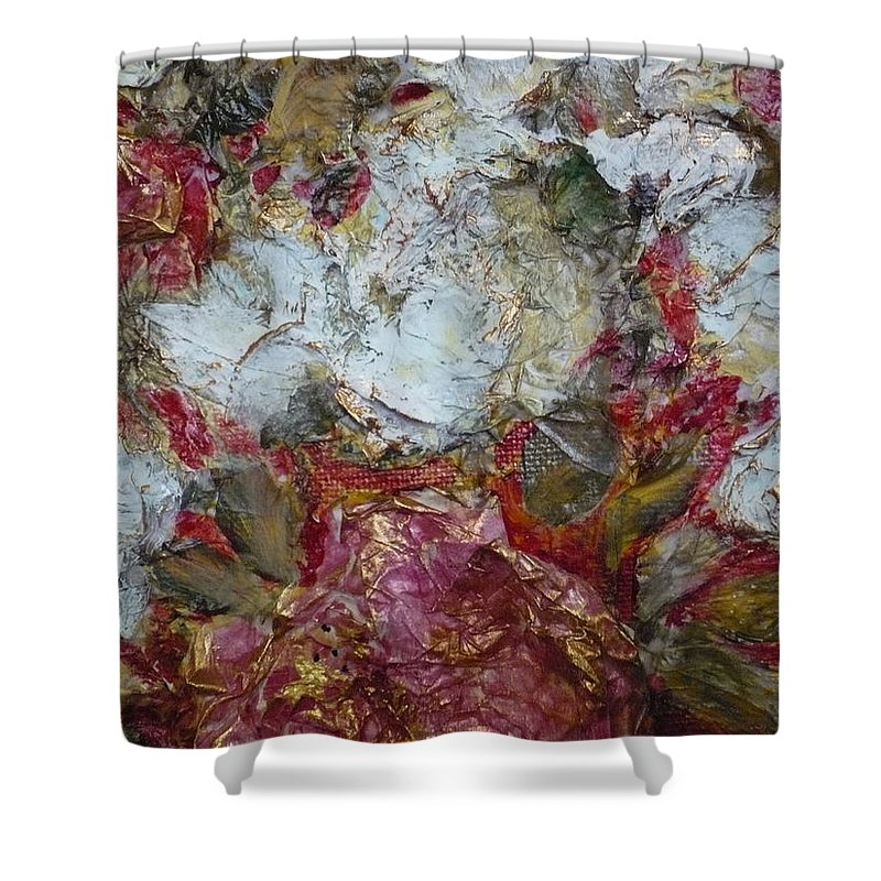 Paper Peonies Created By Folk Artist J Sandoval Shower Curtain featuring the painting Paper Peonies by Jeannine Sandoval