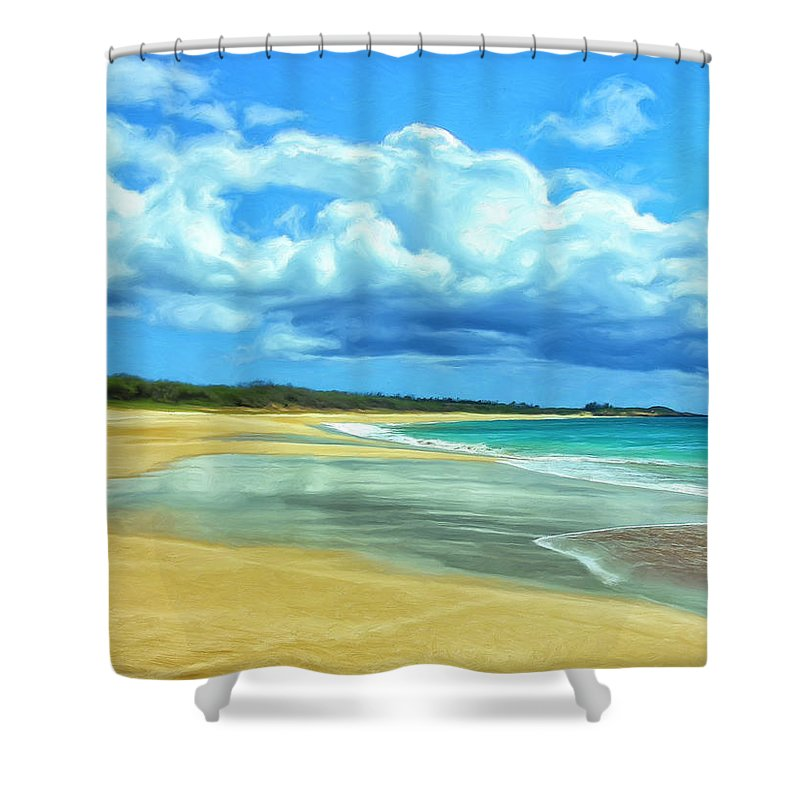 Papohaku Shower Curtain featuring the painting Papohaku Beach Molokai by Dominic Piperata
